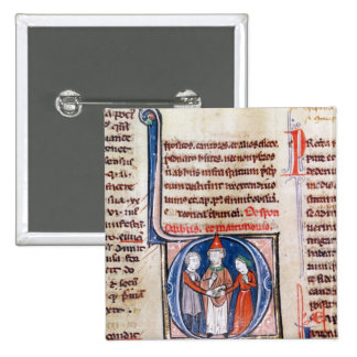 Historiated initial 'D' depicting a marriage Button