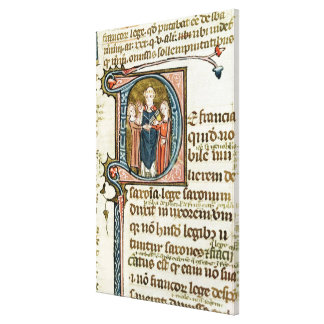 Historiated initial 'D' depicting a priest Canvas Print