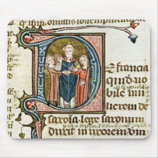 Historiated initial 'D' depicting a priest Mouse Pad