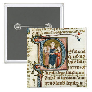 Historiated initial 'D' depicting a priest Pinback Button