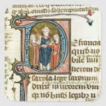 Historiated initial 'D' depicting a priest Square Sticker