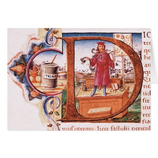 Historiated initial 'D' depicting an apothecary Greeting Card