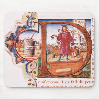 Historiated initial 'D' depicting an apothecary Mouse Pad