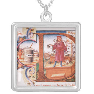 Historiated initial 'D' depicting an apothecary Square Pendant Necklace