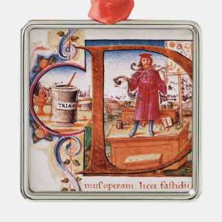 Historiated initial 'D' depicting an apothecary Square Metal Christmas Ornament