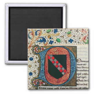 Historiated initial 'D' depicting coat of arms 2 Inch Square Magnet