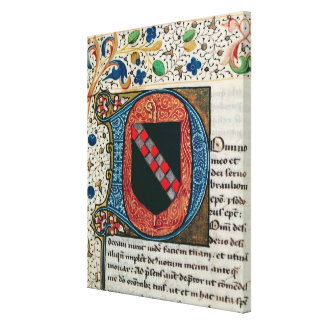 Historiated initial 'D' depicting coat of arms Canvas Print
