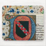 Historiated initial 'D' depicting coat of arms Mouse Pad