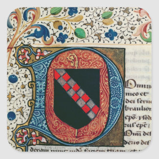 Historiated initial 'D' depicting coat of arms Square Sticker