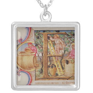 Historiated initial 'E' depicting grape picking Silver Plated Necklace