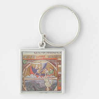 Historiated initial 'E' depicting Jonah Keychain