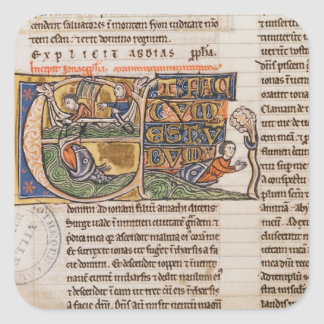 Historiated initial 'E' depicting Jonah Square Stickers