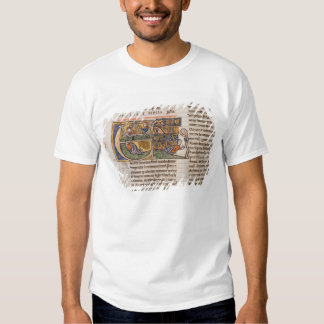 Historiated initial 'E' depicting Jonah T-shirts