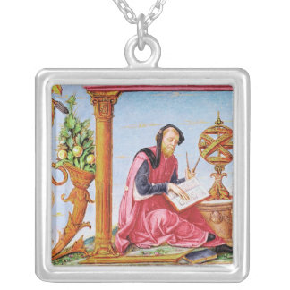 Historiated initial 'L' depicting Pliny the Square Pendant Necklace