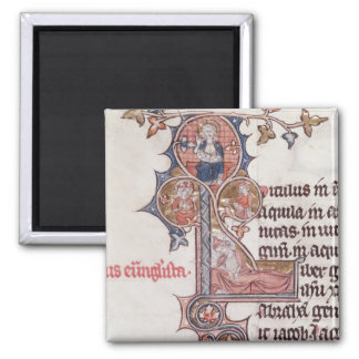 Historiated initial 'L' depicting Tree of 2 Inch Square Magnet