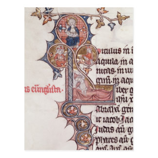 Historiated initial 'L' depicting Tree of Postcard