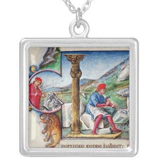 Historiated initial 'L' Square Pendant Necklace