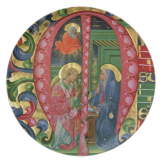 Historiated initial 'M' depicting The Annunciation Melamine Plate