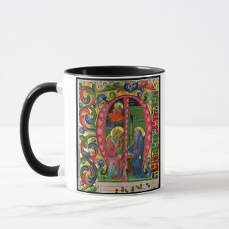 Historiated initial 'M' depicting The Annunciation Mug