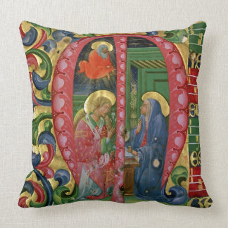 Historiated initial 'M' depicting The Annunciation Throw Pillow
