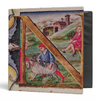 Historiated initial 'N' depicting sheep Binder