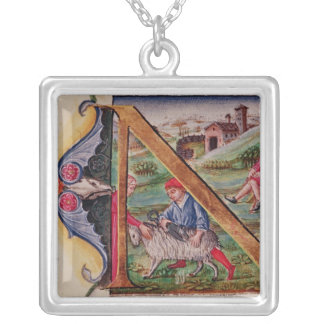 Historiated initial 'N' depicting sheep Square Pendant Necklace
