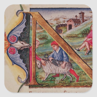 Historiated initial 'N' depicting sheep Square Sticker