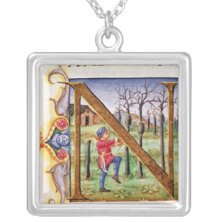 Historiated Initial 'N' Silver Plated Necklace