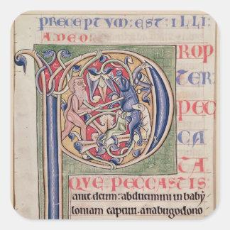 Historiated initial 'P' depicting a boar hunt Square Sticker