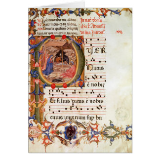 Historiated initial 'P' depicting the Nativity Greeting Cards
