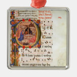 Historiated initial 'P' depicting the Nativity Ornament