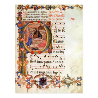 Historiated initial 'P' depicting the Nativity Postcard