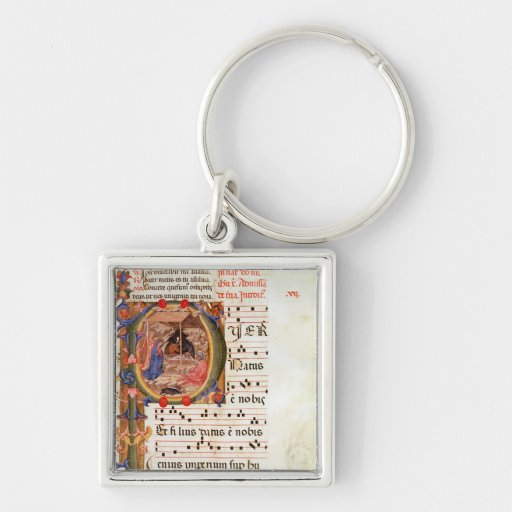 Historiated initial 'P' depicting the Nativity Silver-Colored Square Keychain
