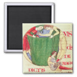 Historiated initial 'Q' depicting drapers 2 Inch Square Magnet