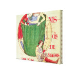 Historiated initial 'Q' depicting drapers Canvas Print