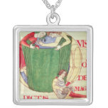 Historiated initial 'Q' depicting drapers Square Pendant Necklace