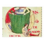 Historiated initial 'Q' depicting drapers Postcard