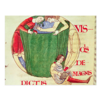 Historiated initial 'Q' depicting drapers Postcard
