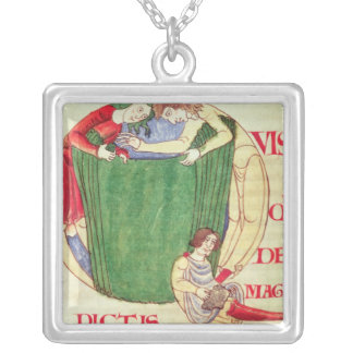 Historiated initial 'Q' depicting drapers Silver Plated Necklace