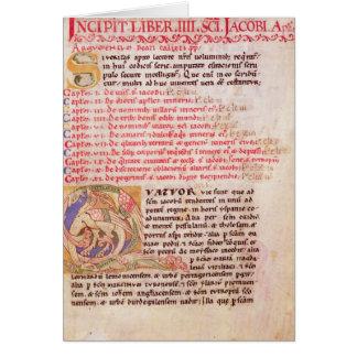Historiated initial 'Q' depicting three Card