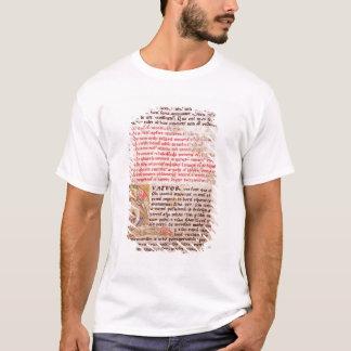Historiated initial 'Q' depicting three T-Shirt
