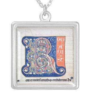 Historiated initial 'R' 2 Silver Plated Necklace