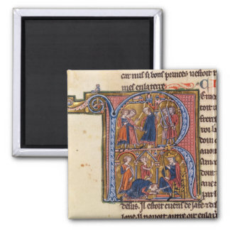 Historiated initial 'R' depicting the Sultan 2 Inch Square Magnet