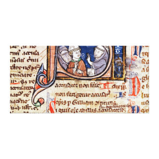 Historiated initial 'S' depicting Pope Gregory Canvas Print