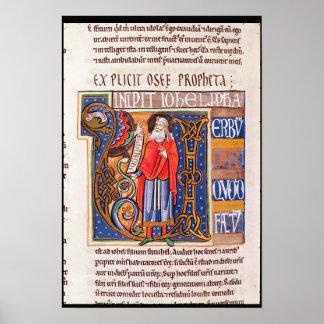 Historiated initial 'U' depicting Joel Poster