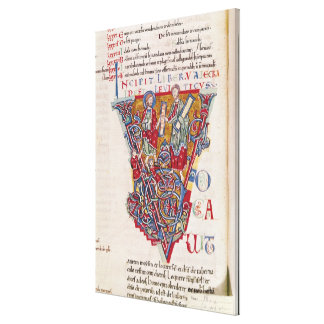 Historiated initial 'V' depicting a scene Canvas Print