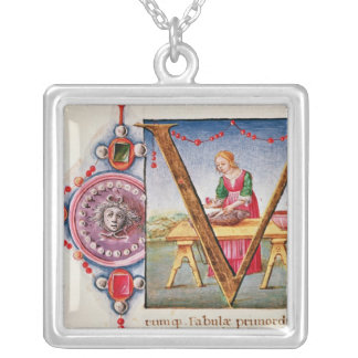Historiated initial 'V' depicting Square Pendant Necklace