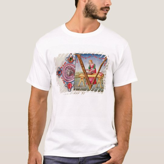 Historiated initial 'V' depicting T-Shirt