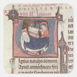 Historiated initials 'U' and 'I' Square Sticker