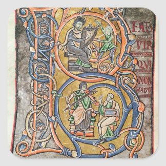 """Historiated rubrica """"B"""" que representa a rey David Pegatina Cuadrada"""